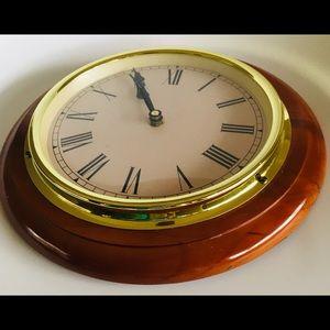 Vintage Railway Style Round Wooden Clock Gold Edge